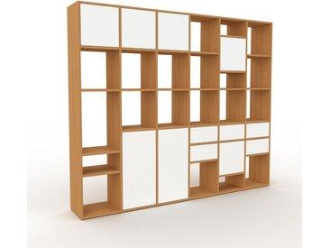 Système d'étagère - Chêne, design, rangements, avec porte Blanc et tiroir Blanc - 233 x 195 x 35 cm