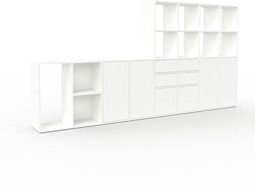 Système d'étagère - Blanc, design, rangements, avec porte Blanc et tiroir Blanc - 310 x 157 x 35 cm