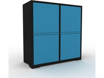 Meuble de rangements - Noir, moderne, pour documents, avec porte Bleu - 79 x 81 x 35 cm, personnalisable