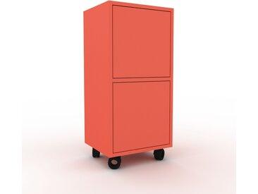 Caisson à roulette - Rouge, pièce modulable, rangement mobile, avec porte Rouge - 41 x 87 x 35 cm