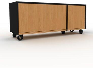 Caisson à roulette - Chêne, pièce modulable, rangement mobile, avec porte Chêne - 116 x 49 x 35 cm