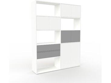 Bibliothèque - Blanc, design contemporain, avec porte Blanc et tiroir Gris - 152 x 195 x 35 cm