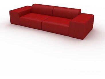 Canapé en cuir - Rouge pourpre Cuir Pigmenté, lounge, esprit club ou cosy avec toucher chaleureux - 294 x 72 x 107 cm, modulable