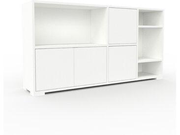 Range CD - blanc, contemporain, meuble pour vinyles, DVD, avec porte blanc - 154 x 81 x 35 cm, modulable