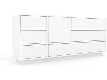 Commode - Blanc, moderne, raffinée, avec porte Blanc et tiroir Blanc - 154 x 66 x 35 cm