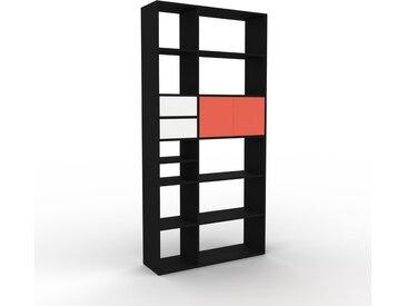 Bibliothèque - Noir, design contemporain, avec porte Rouge et tiroir Blanc - 116 x 233 x 35 cm