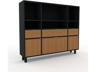 Meuble de rangements - Noir, design, pour documents, avec porte Chêne et tiroir Chêne - 154 x 130 x 35 cm