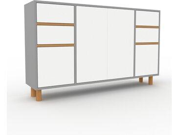 Buffet - Gris, moderne, avec porte Blanc et tiroir Blanc - 154 x 91 x 35 cm