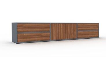 Meuble TV - Anthracite, design, meuble hifi, multimedia, avec porte Noyer et tiroir Noyer - 226 x 41 x 35 cm