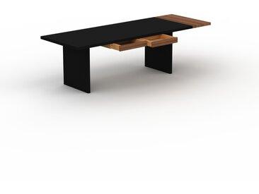 Bureau - Noir, moderne, table de travail, avec tiroir Noyer - 260 x 75 x 90 cm, modulable