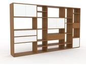 Système d'étagère - Blanc, design, rangements, avec porte Blanc et tiroir Blanc - 267 x 157 x 35 cm
