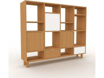 Bibliothèque murale - Chêne, combinable, étagère, avec porte Chêne et tiroir Chêne - 156 x 130 x 35 cm