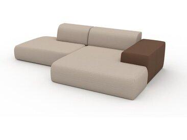 Canapé en cuir - Blanc Crème Textile tissé, lounge, esprit club ou cosy avec toucher chaleureux - 284 x 72 x 168 cm, modulable