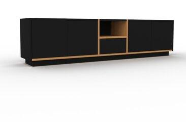 Buffet bas - Chêne, design contemporain, avec porte Noir et tiroir Noir - 190 x 47 x 35 cm
