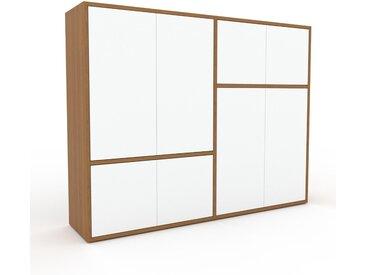 Meuble de rangements - Blanc, moderne, pour documents, avec porte Blanc - 152 x 118 x 35 cm, personnalisable