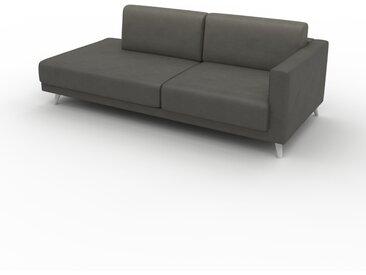 Canapé en cuir - Gris gravier Cuir Végan, lounge, esprit club ou cosy avec toucher chaleureux, 212x 75 x 98 cm, modulable