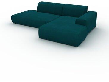 Canapé d'angle Velours - Bleu Pétrole, design arrondi, canapé en L ou angle, confortable avec méridienne ou coin - 271 x 72 x 168 cm, modulable