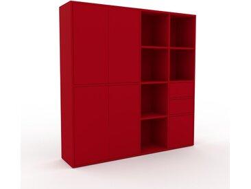 Placard - Rouge, moderne, rangements, avec porte Rouge et tiroir Rouge - 154 x 157 x 35 cm