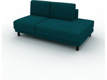 Canapé Velours - Bleu Pétrole, modèle épuré, canapé pour salon, en tissu avec pieds personnalisables - 160 x 75 x 98 cm, modulable