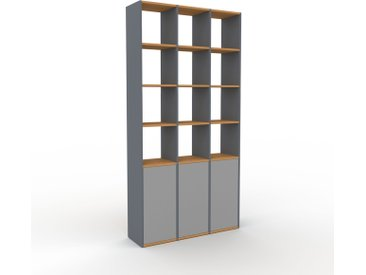 Bibliothèque - Anthracite, pièce de caractère, rangements raffiné, avec porte Gris - 118 x 233 x 35 cm, configurable