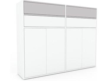 Meuble de rangements - Blanc, design, pour documents, avec porte Blanc et tiroir Gris clair - 152 x 118 x 35 cm