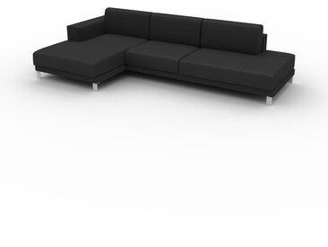 Canapé en cuir - Noir Cuir Aniline, lounge, esprit club ou cosy avec toucher chaleureux, 304x 75 x 162 cm, modulable