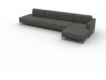 Canapé en cuir - Gris ardoise Cuir Végan, lounge, esprit club ou cosy avec toucher chaleureux, 372x 75 x 162 cm, modulable