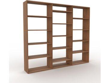 Système d'étagère - Noyer, design contemporain, rangements de qualité, modulables - 226 x 195 x 35 cm, personnalisable