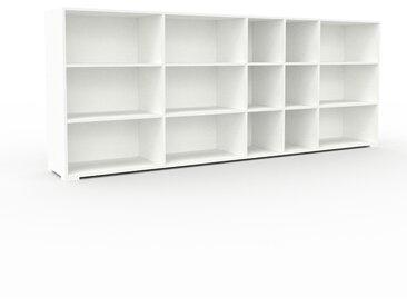 Système d'étagère - blanc, design contemporain, rangements de qualité, modulables - 303 x 120 x 47 cm, personnalisable