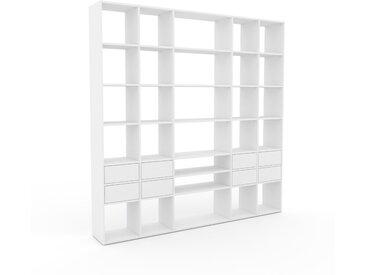 Bibliothèque murale - Blanc, design flexible, étagère, avec tiroir Blanc - 231 x 233 x 35 cm, configurable