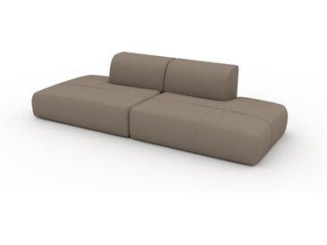 Canapé en cuir - Gris taupe Cuir Nubuck, lounge, esprit club ou cosy avec toucher chaleureux - 270 x 72 x 107 cm, modulable