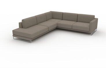 Canapé en U - Taupe Gris, design épuré, canapé d'angle panoramique, grand et tendance, avec pieds - 266 x 75 x 294 cm, modulable