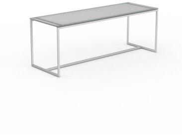 Table basse en verre clair dépoli, design industriel, bout de canapé raffiné - 121 x 46 x 42 cm, personnalisable
