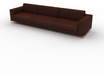Canapé en cuir - Cognac Cuir Nubuck, lounge, esprit club ou cosy avec toucher chaleureux, 328x 75 x 98 cm, modulable