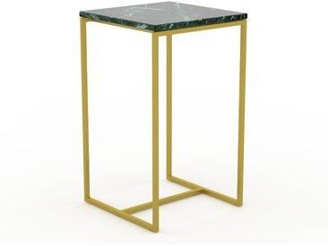 Table basse en marbre Vert Guatemala avec des jambes dorées, design contemporain, bout de canapé luxueux et sophistiqué - 42 x 71 x 42 cm, personnalisable