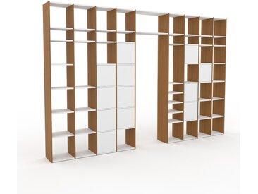 Bibliothèque - Chêne, pièce de caractère, rangements raffiné, avec porte Blanc - 385 x 253 x 35 cm, configurable