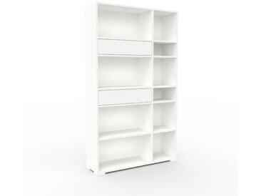 Bibliothèque - Blanc, modèle tendance, rangements pour livres, avec tiroir Blanc - 116 x 196 x 35 cm, modulable