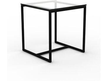 Table basse en Verre clair transparent, design industriel, bout de canapé raffiné - 42 x 46 x 42 cm, personnalisable
