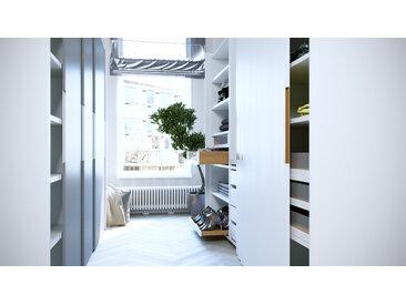 Dressing - Blanc/Gris, design, armoire penderie pour chambre ou entrée, haut de gamme, avec portes coulissantes - 244 x 233 x 65 cm, modulable