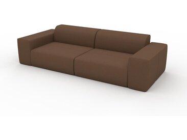 Canapé en cuir - Cognac Cuir Nubuck, lounge, esprit club ou cosy avec toucher chaleureux - 266 x 72 x 107 cm, modulable