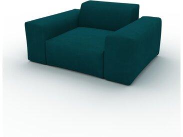 Fauteuil Velours - Bleu Pétrole, forme arrondi, grand fauteuil en tissu, bas et profond - 141 x 72 x 107 cm, modulable