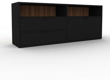 Buffet bas - Noir, design contemporain, avec porte Noir et tiroir Noir - 152 x 61 x 35 cm