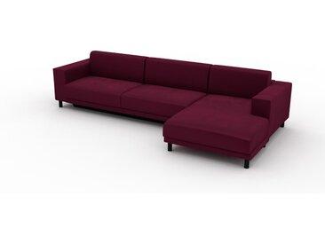 Canapé convertible Velours - Rouge Mûre, design épuré, canapé lit confortable, confortable avec coffre de rangement - 328 x 75 x 162 cm, modulable