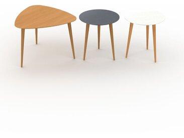 Tables basses - Blanc, triangulaire/ronde/ronde, design scandinave, set de 3 tables basses - 59/40/40 x 44/44/44 x 61/40/40 cm, personnalisable