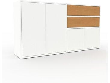 Enfilade - Blanc, design, buffet, avec porte Blanc et tiroir Chêne - 152 x 80 x 35 cm