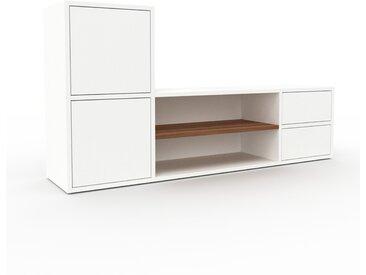 Meuble TV - Blanc, design, meuble hifi, multimedia, avec porte Blanc et tiroir Blanc - 154 x 80 x 35 cm