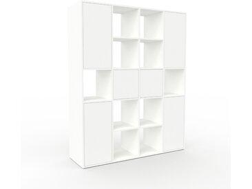 Système d'étagère - Blanc, modulable, rangements, avec porte Blanc - 156 x 195 x 47 cm