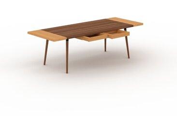 Bureau scandinave - Noyer, design moderne, table de travail nordique, avec pieds inclinés et épurés - 240 x 75 x 90 cm, modulable