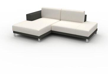 Canapé en cuir - Blanc Cuir Pigmenté, lounge, esprit club ou cosy avec toucher chaleureux, 224x 75 x 162 cm, modulable