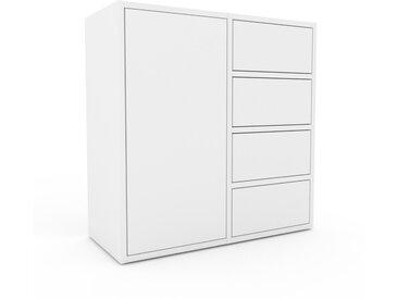Caisson à roulette - Blanc, moderne, avec porte Blanc et tiroir Blanc - 79 x 80 x 35 cm